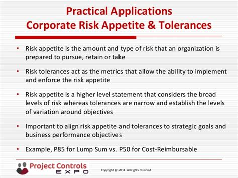 risk appetite template project controls expo 18th nov 2014 quot practical