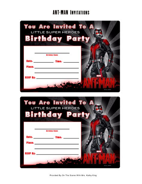 Marvel Birthday Card Template by Free Marvel Ant Printable Birthday Invitation