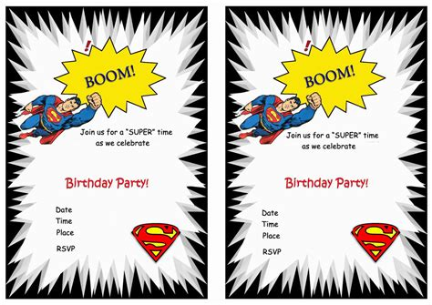 printable birthday cards superman superman birthday invitations birthday printable