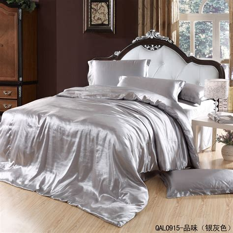 King Size Duvet Cover Bedding Aliexpress Com Buy Silver Satin Comforter Bedding Set