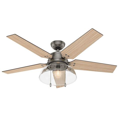 52 Outdoor Ceiling Fan With Light Lindbeck 52 In Led Indoor Outdoor Brushed Slate Ceiling Fan With Light 59209 The Home
