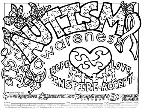 autism awareness colors autism awareness colouring contest mortgage tree