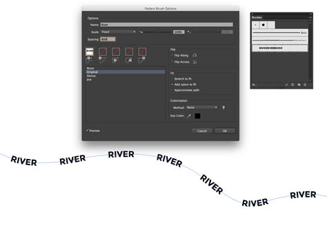 pattern brush options labeling river of a map in illustrator graphic design
