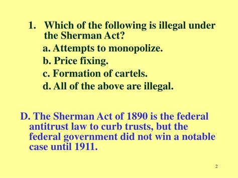 section 1 of the sherman act ppt chapter 13 practice quiz antitrust and regulation