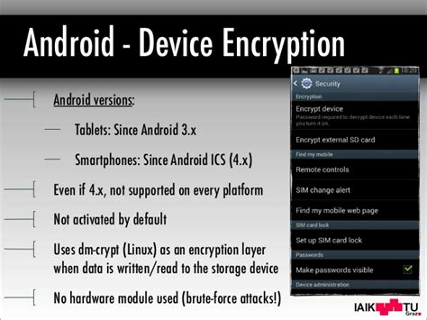 android pattern encryption mobile device encryption systems