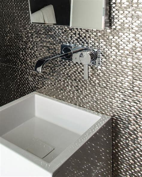 silver mosaic tiles bathroom our favorite gold silver and bronze decor hgtv s decorating design blog hgtv