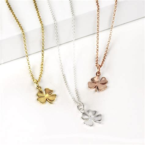 Clover Pendant Chain Necklace lucky silver or gold four leaf clover necklace by hersey