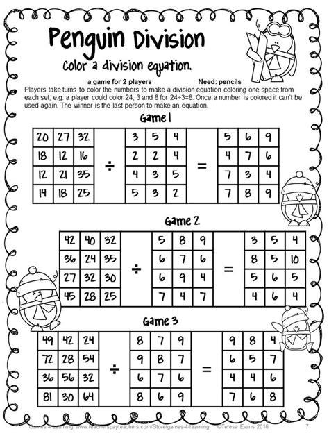 printable division games winter math activity no prep penguin math games