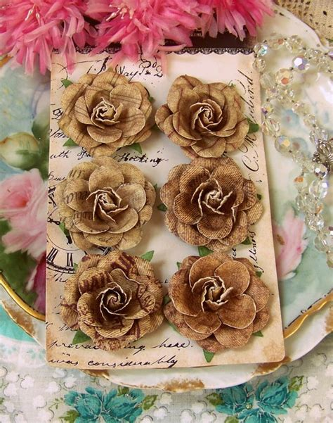 rustic paper flower tutorial prima flowers rustic chic set of 6 natural colored tan