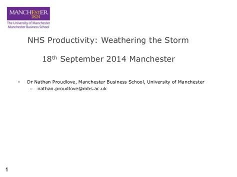 Nhs Mba by Nhs Productivity Weathering The Dr Nathan Proudlove