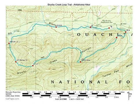 ouachita national forest map brushy creek loop trail ouachita forest 7 mi
