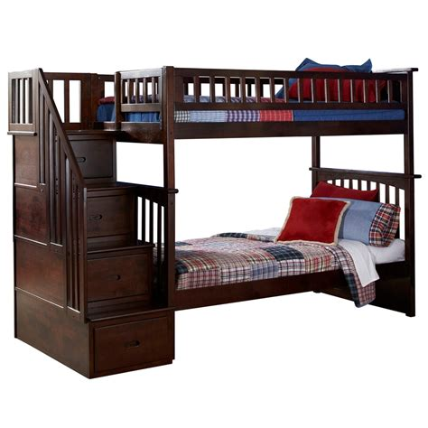 Bunk Bed Platform Columbia Staircase Bunk Bed Walnut Ab55604