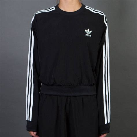 Sweater Adidas 3 Colors adidas 3 stripes cropped sweater black