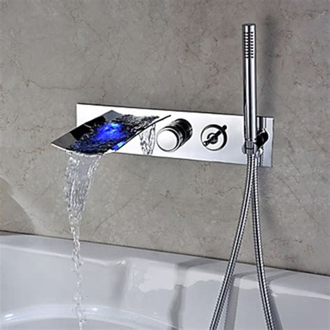 bathtub faucet with handheld shower chrome finish color changing wall mount tub faucet with