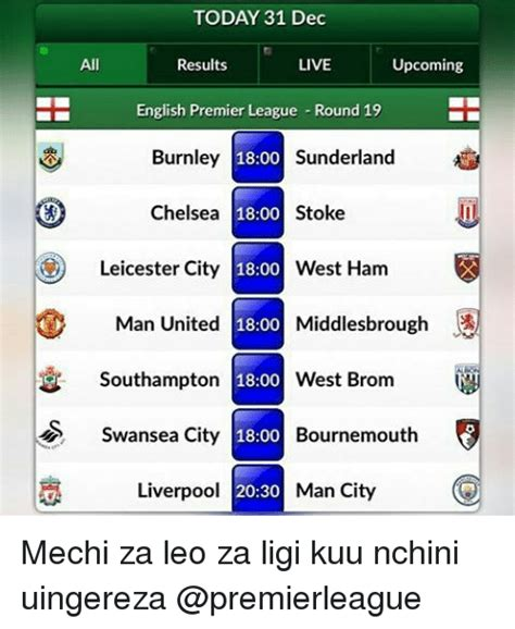 epl results live today 31 dec all results live upcoming english premier