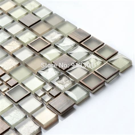 glass and metal backsplash cheap stainless steel mosaic