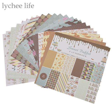 Handmade Scrapbook Paper - lychee 24 sheets scrapbooking paper craft diy handmade