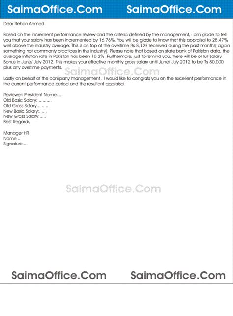 Format Of Salary Appraisal Letter Letter Of Increment To Employee Sle Documentshub