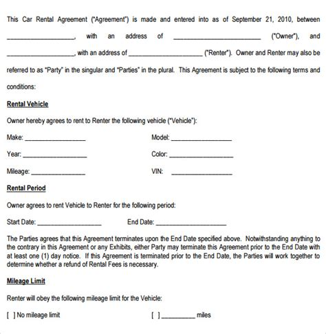 Car Rental Agreement Letter Malaysia by 11 Sle Car Rental Agreements Sle Templates