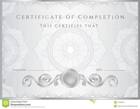 Silver Certificate Diploma Background Template Stock Vector Image 31482427 Watermark Template