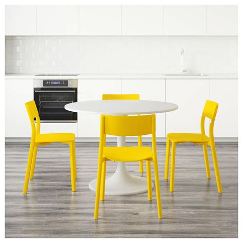 docksta table docksta janinge table and 4 chairs white yellow 105 cm ikea