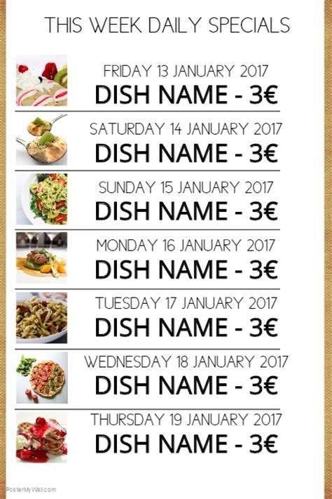 daily specials menu template postermywall