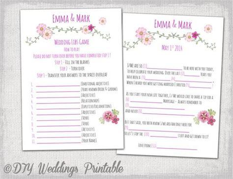 wedding mad libs template pink wedding libs printable