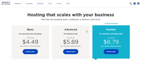 yahoo small business web hosting review rating pcmagcom