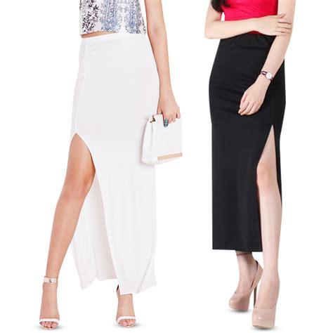 Fashion Wanita Slit Maxi Terlaris promo 2styles slit maxi skirt zipper slit maxi rok span panjang wanita elevenia