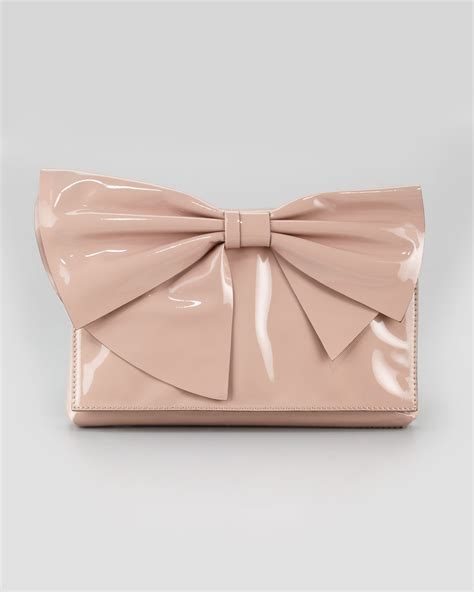 Valentino Flat Bow Clutch by Valentino Lacca Bow Clutch Bag In Pink Lyst