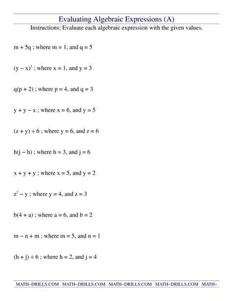 Evaluating Expressions Worksheet by Math Worksheets Algebraic Expressions Math Variables