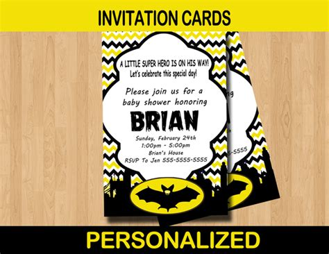 Batman Baby Shower Invitations by Bat Baby Shower Invitation Card Personalized