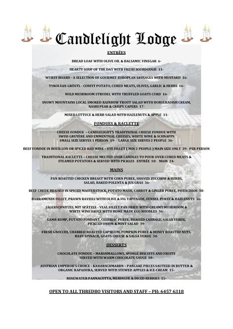 Candle Light Menu by Candlelight Restaurant Thredbo Resort