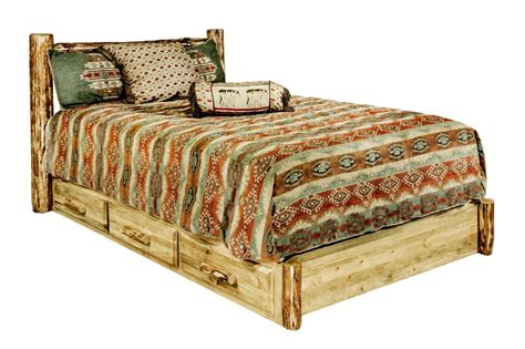 queen log bed queen platform bed with storage drawers rustic log