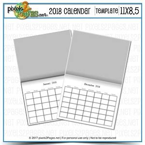 2018 11x8 5 blank calendar template digital art