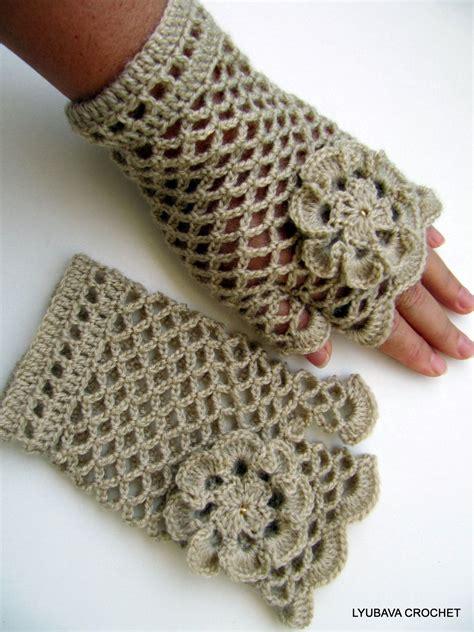crochet gloves crochet lacy gloves beige fingerless crochet gloves with