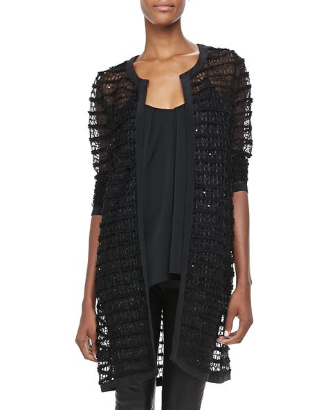 Sheer Jacket lyst milly sheer lace jacket in black