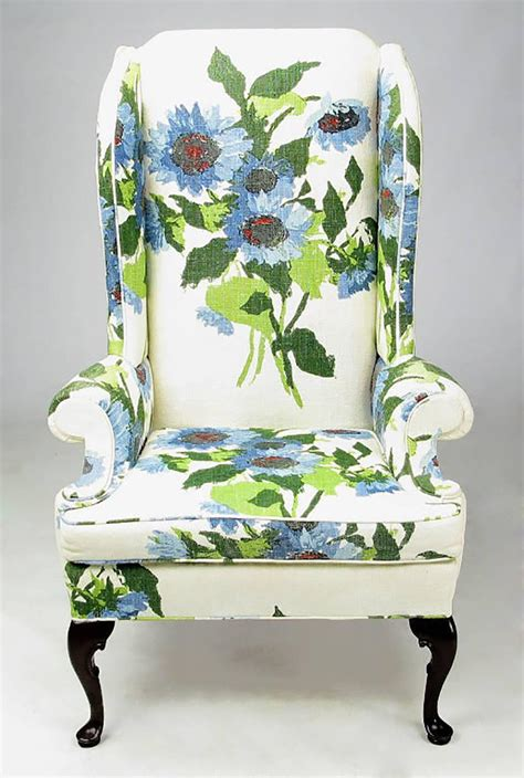 Floral Chairs For Sale Pair Of And Bold Floral Linen Upholstered Wing