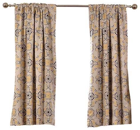 Yellow Blackout Curtains Soliel Yellow Grey Blackout Curtain Single Panel Contemporary Curtains By Half Price Drapes
