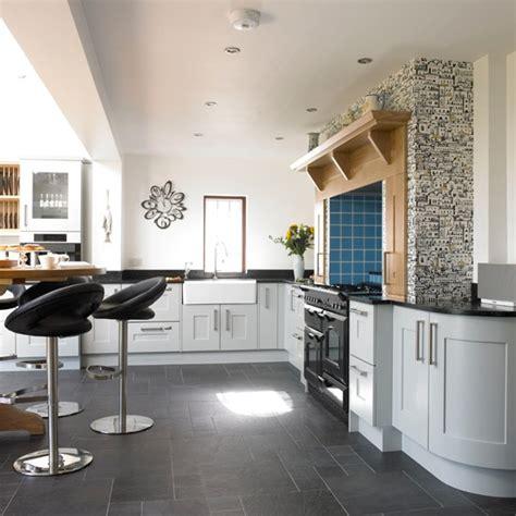 blue kitchen wallpaper uk pale blue kitchen with range cooker housetohome co uk