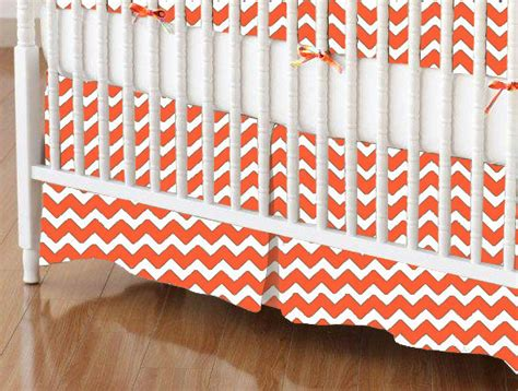 mini crib skirt orange chevron zigzag mini crib skirts