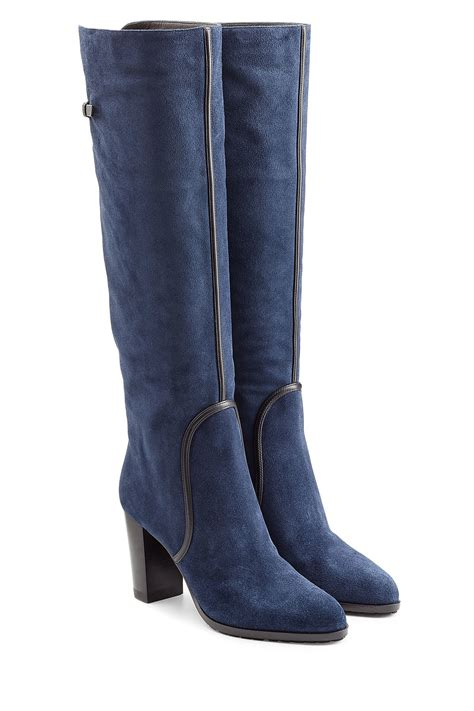 boots blue sergio suede knee boots blue in blue lyst