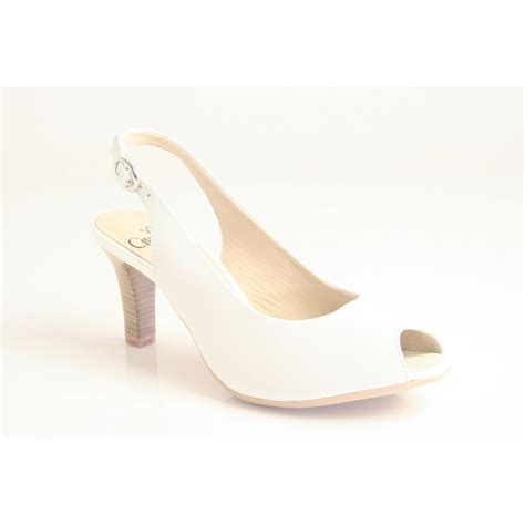 caprice caprice white leather court shoe with peep toe and
