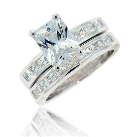 emerald cut cubic zirconia silver wedding 2 rings set ebay