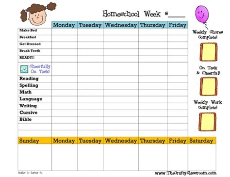 weekly homeschool planner there is a blank version so