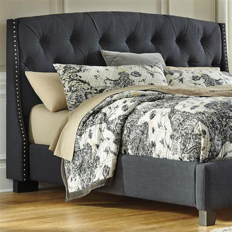 signature design  ashley kasidon   kingcalifornia king upholstered headboard  dark