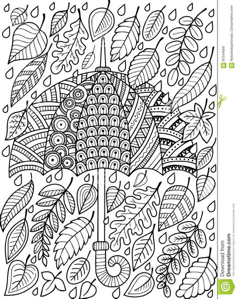 hand draw doodle coloring page  adult  love autumn