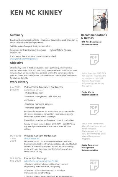 Video Editor Resume samples   VisualCV resume samples database