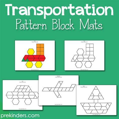 kindergarten pattern blocks printables transportation pattern block mats prekinders