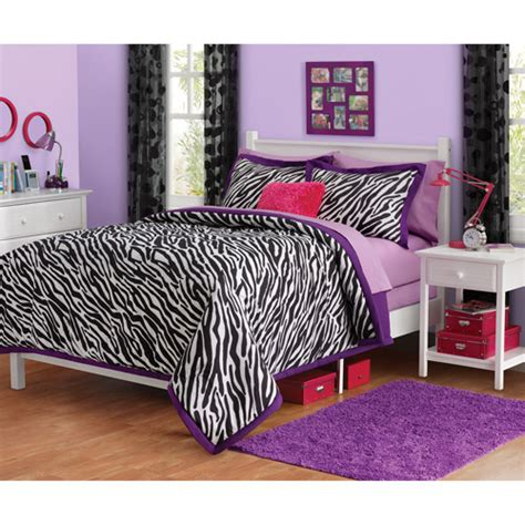 purple zebra bedding your zone comforter set walmart com